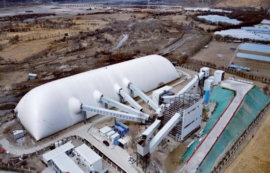 川藏铁路尼洋河成品料仓气膜技术在砂石行业首次应用